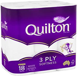Toilet Paper 18 Rolls Deluxe Quilton 3 Ply White Soft PRO Large Roll Tissue Bulk