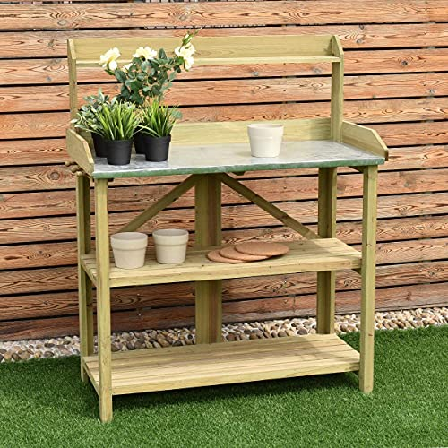 HYGRAD BUILT TO SURVIVE 3 Tier Wooden Potting Planting Outdoor Garden Work Bench Table Station Storage Shelf With Tray & A Drawer