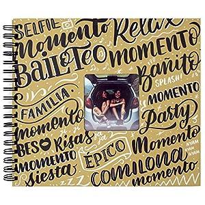 Recuerding - Álbum de Fotos Original Momentos, 50 Páginas (27x24cm) | Personalizable con Hojas de Papel Negro para Rellenar con Recuerdos | Escribir y Pegar | Hecho en España