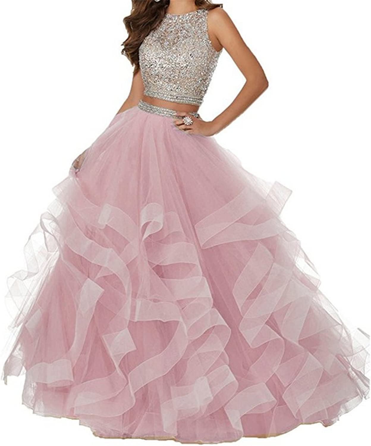 Kailiya Multilayer Asymmetric Tulle Beaded Two Pieces Long Prom Dress