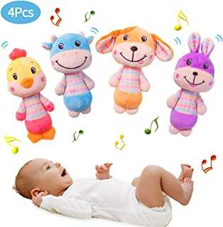 Blppldyci Baby Rattles Toys Newborn First Rattle Toys - Baby Hand Grab, Hold and Shake Toy with Sound - Sensory, Early Developmental Toy for Infant Babies 3 6 9 12 Months(4 Pack)