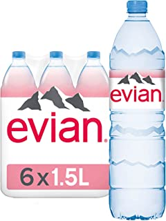 evian Mineral Water, Naturally Filtered Drinking Water, 1.5L Bottled Water Crafted by Nature, Case of 6 x 1.5L Pet evian W...