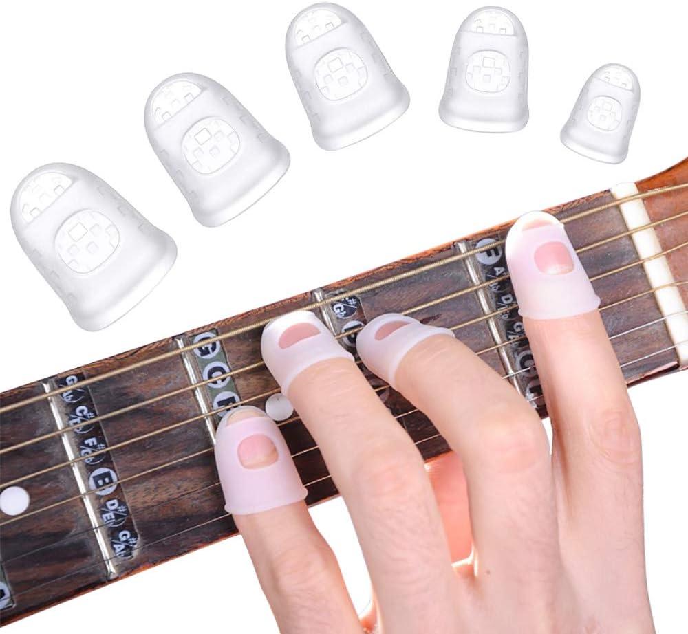 Protectores de dedos de guitarra de silicona, 40 PCS Tamaño 5 antideslizante Protección de la punta de los dedos Protectores del pulgar Tapas para niños Adultos