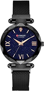 Women Watches,CURREN Quartz Analog Calendar,Wrist Watch for Women, Fashion Waterproof Stainless Steel Band-Black