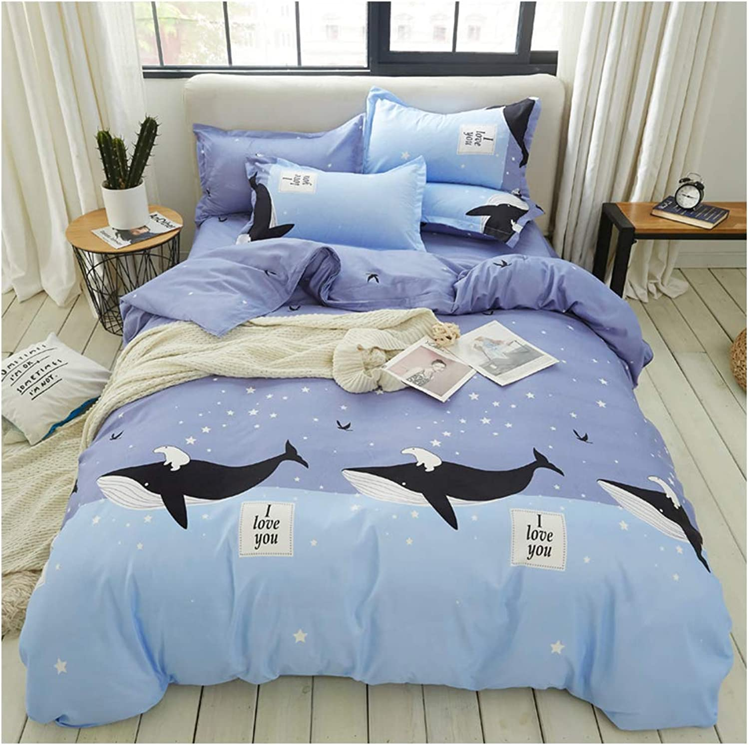 ORIHOME Bedding Set Twin Full Queen King Prairie Animal Antelope Deer Print- 4 Piece Bedding Sets - Teen Bedding for Girls Bedroom(Without Quilts) YZ (Dolphin,bluee, Queen,79''x91'')