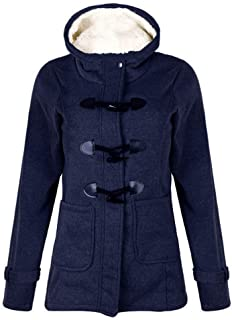 Explosion Hooded Mixed Cotton Classic Horn Leather Buckle Button Coat Sweater Coat
