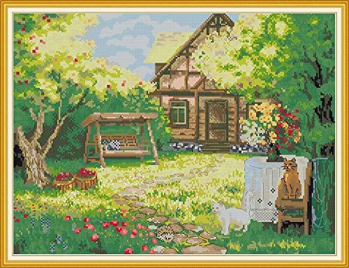 Kit de punto de cruz para decoración del hogar, bordado de tela de 11 quilates (kits impresos, patio trasero)