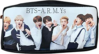 BTS PU Leather Pen Case Stationery Bag Bangtan Boy Student Zippered Pouch Gift for Army Daughter (Black)