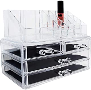 Ikee Design Acrylic Jewelry & Cosmetic Storage Display Boxes Two Pieces Set - Organize Cosmetics, Jewelry, Hair Accessories, Bathroom Counter or Dresser, Clear Design for Easy Visibility