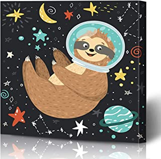 Onete Canvas Prints Wall Art 16x16 Kid Smiling Cute Pet Baby Sloth Astronaut Flying Happy Animals Boy Moon Wildlife Birthday Science Painting Artwork Printing Home Bedroom Living Room Office Dorm
