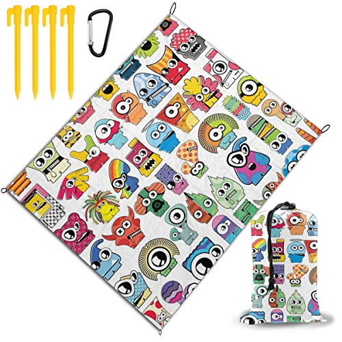 Great Deal! Outdoor Picnic Blanket 67x57inch Cartoon Monster Foldable Waterproof Extra Large Picnic ...