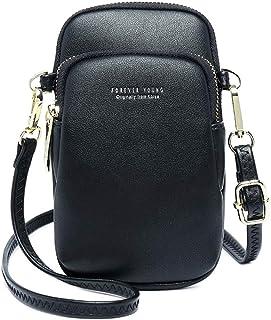 Jangostor kleine Crossbody Tasche Handy - Tasche Brieftasche mit Credit Card Slots für Frauen (Schwarz)