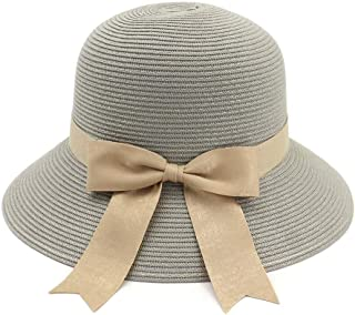 Summer hat Women's Knitted Sun Hat Empty Chin with Sunscreen Beach Bowknot Summer Hat Travel UV Protection hat (Color : Gray, Size : 56-58CM)