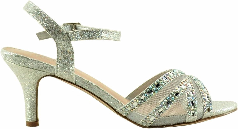 Blossom Vero 55 Women's Peep Toe Mesh Crystal Embellished Heel