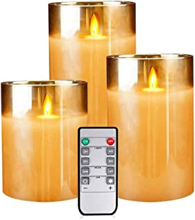 Flameless Candles,Flickering Flameless Candles with Timer Pillar Real Wax Flickering Glass Candle Sets with Remote for Decor(Set of 3)