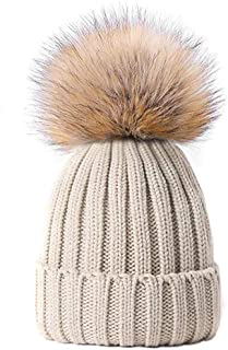 MMTX Women Winter Rib Knit Hats Hedging Beanie Cap Warm Outdoor Fashion Hat with Chunky Faux Fur Bobble Pompoms,Unisex
