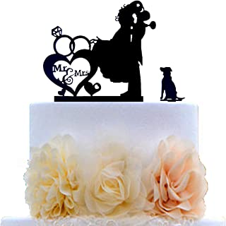 Wedding Couple Kiss, Mr&Mrs Heart Diamond Ring Cake Topper, Bride and Groom with Dog Silhouette Cake Topper (Black)