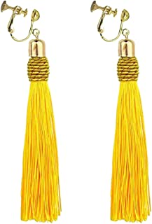 Bohemian Yellow Long Tassel Silk Fringe Thread Clip on Earrings Oval Knot Prom Bar for Girls Women