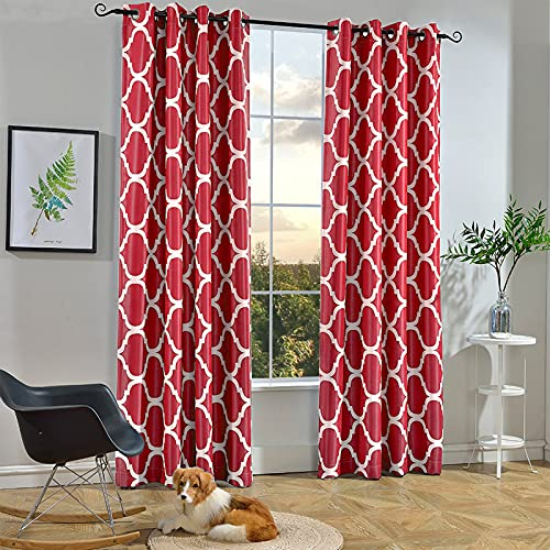 Melodieux Moroccan Fashion Room Darkening Blackout Grommet Top Curtains for Living Room, 52 by 84 Inch, Red (1 Panel)