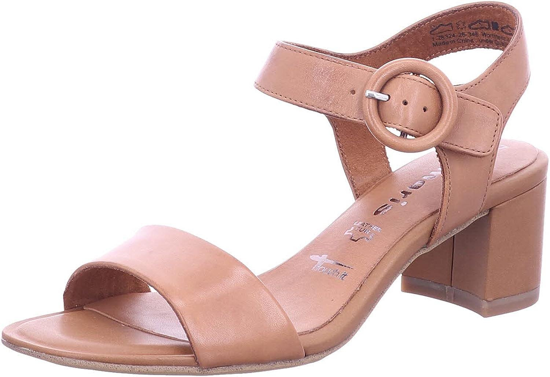 Tamaris Women's Ankle Strap Heeled Sandal, Brown, 7.5 US