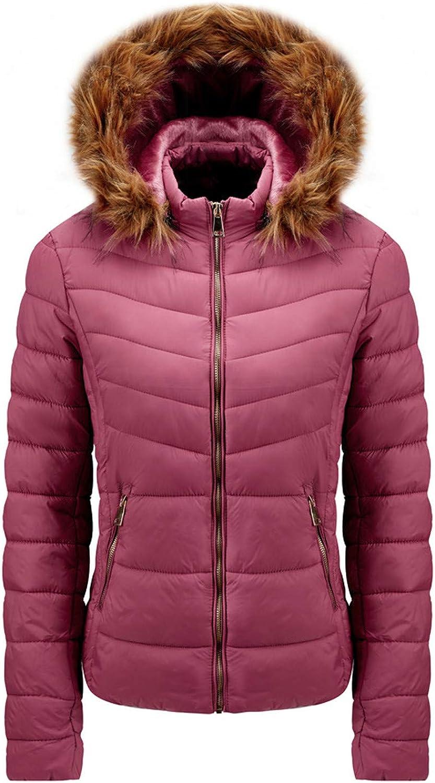 HDGTSA Women's Winter Quilted Puffer Short Coat Jacket Faux Fur Hood and Zipper Parka Outerwear
