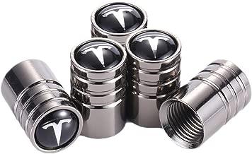 TK-KLZ 5Pcs Chrome Car Tire Valve Stem Caps for Tesla Roadster Model S Model X Model 3 TESLASUV Decorative Accessories
