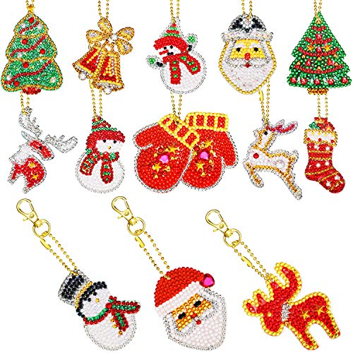 13 Pieces Christmas DIY Diamond Key Chain Christmas 5D DIY Painting Round Drill Key Chain Christmas Crystal Rhinestone Arts Craft Keychain