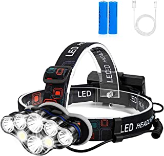 TALITARE Headlamp High Lumens Brightest 8 LED Headlight Flashlight with White Red Lights USB Rechargeable Waterproof Head ...