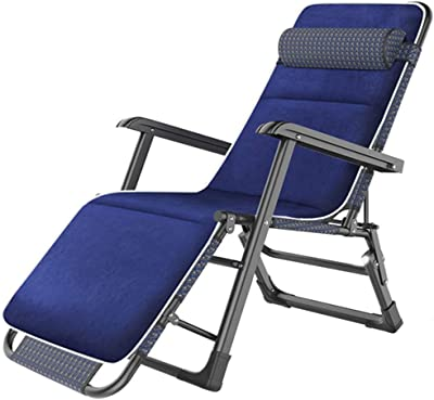 Blue Reclining Patio Chairs with Cushion, Locking Zero Gravity Lounge Recliner for Outdoor Patio Pool Deck, Support 440 Lbs