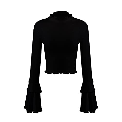 a1cd1dc798f5 Yimeili Women's Knit High Neck Trumpet Flare Bell Sleeve Blouse Long Sleeve  T-Shirts Tops