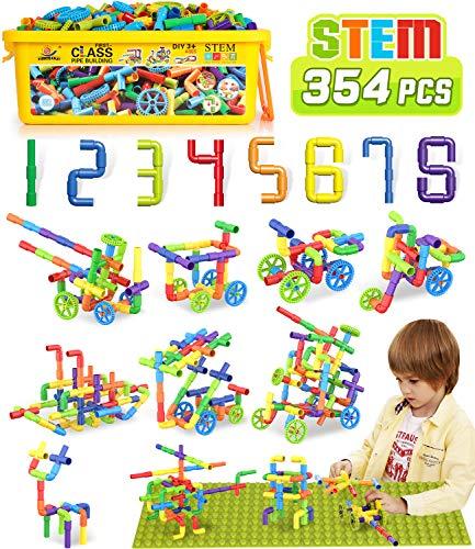354 Pcs STEM Building Blocks Set Toy For Kid, Pipe Tube Sensory Toys with Wheels, Baseplate, Interlocking Storage Box, Kids Construction Building Blocks Educational Toy Gift For Toddler Boy Girl Child