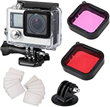Waterproof Housing Case for GoPro Hero 4 Hero 3+ Hero3, with Anti Fog Inserts and Filter for GoPro (Red + Purple) Accessories Suitable for Underwater Diving Photography 45M Protective Shell
