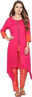 Rama Women's Rayon Solid Kurta with Cotton Slub Pant (Pink, XL)