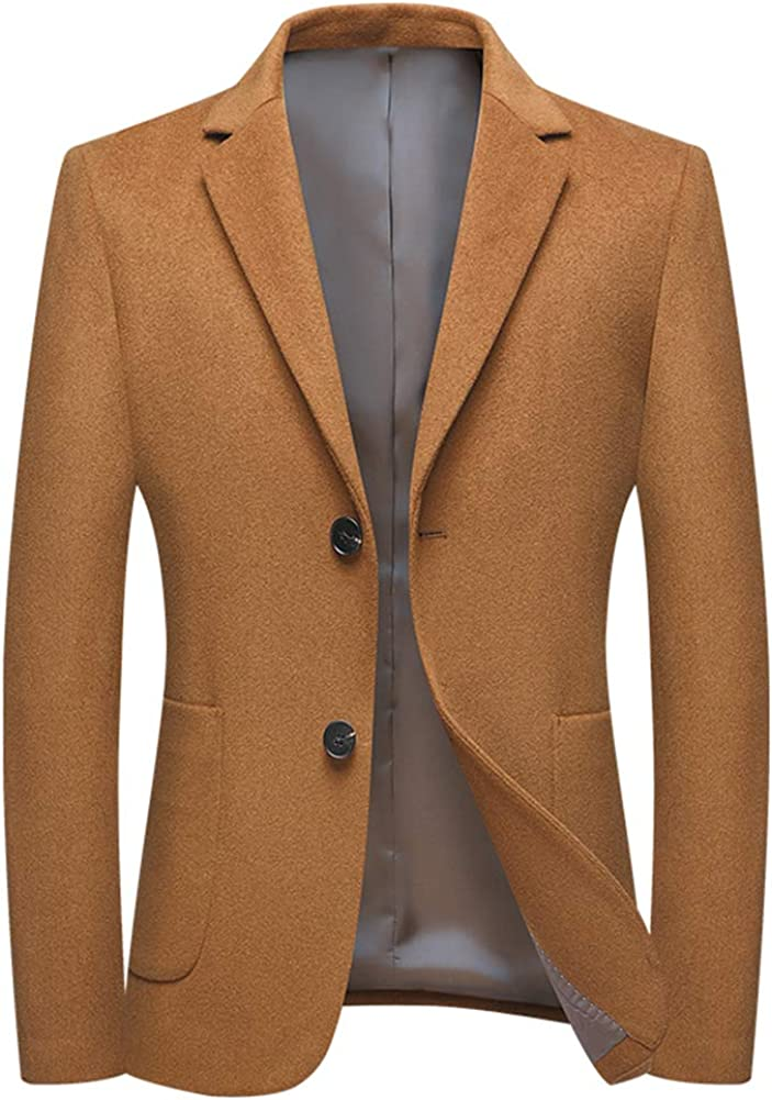Mens Wool Blend Suit Blazer Slim 2 Ja Button Single Breasted Max 71% OFF Beauty products Fit