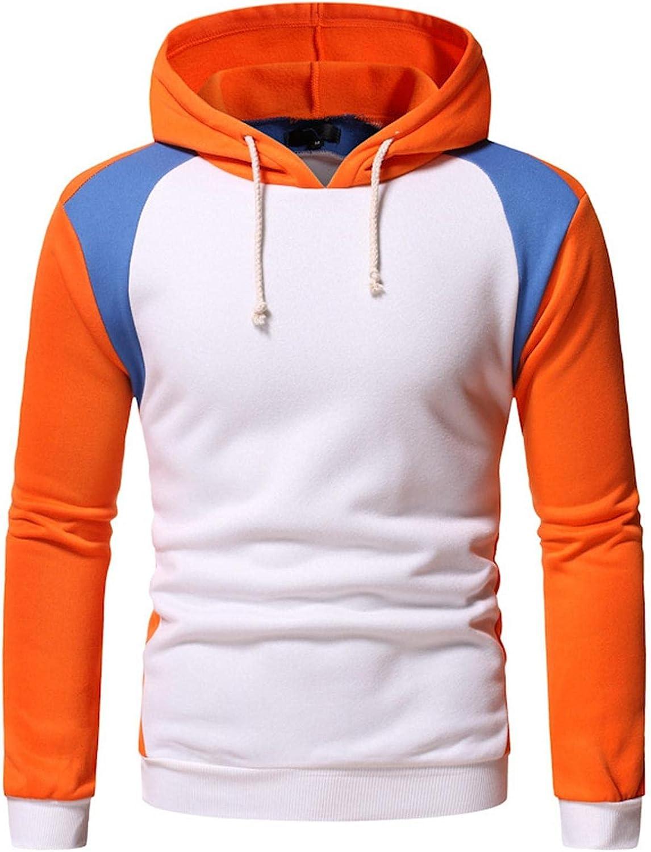 Hoodies for Men,Fashion Men's Novelty Color Block Pullover Fleece Hoodie Long Sleeve Hooded Sweatshirt Tops