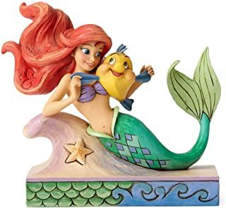 """Disney Traditions by Jim Shore """"The Little Mermaid"""" Ariel with Flounder Stone Resin Figurine, 5.25"""""""