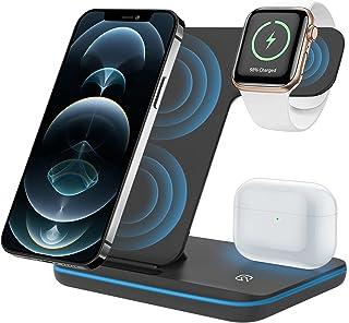 ZHIKE Trådlös laddare, 3-i-1 Qi-certifierad 15 W snabbladdningsstation för Apple iWatch Series 6/5/4/3/2/1, AirPods, trådl...