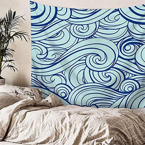 YASHUO Onda de mar Tapiz de Rayas Impresas Tapiz de Pared Tapiz Azul Grande Decoración de Tela Manta Alfombra de Yoga Alfombras Mantas Playa,TT4,El 150x130cm