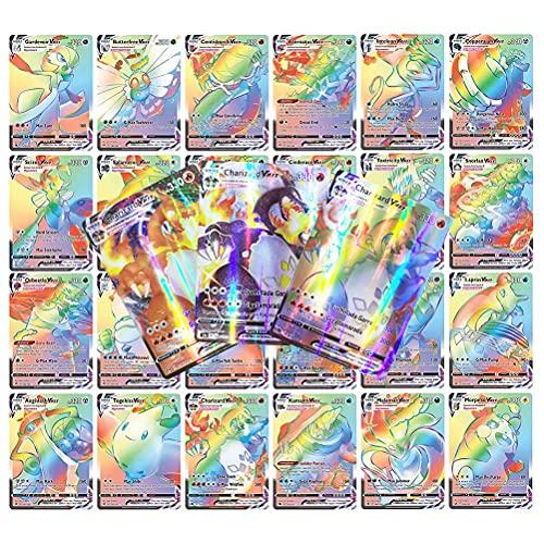 Emeili Juego de Cartas en Español, 100 Cartas Coleccionables, Tarjeta Coleccionable GX para Niños Juego de Tarjetas Poke Regalos para Niños (88Vmax + 11energy)