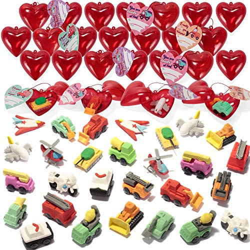 28 Packs Kids Valentine Party Favors Set with 28 Puzzled Vehicle Eraser Filled Hearts and Valentine Cards for Kids Valentine Classroom Exchange, Cars Airplanes Motorcycles Erasers for Valentine Cards Exchange