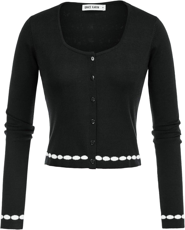 GRACE KARIN Women's Long Sleeve Bolero Shrug Open Front Cropped Cardigan
