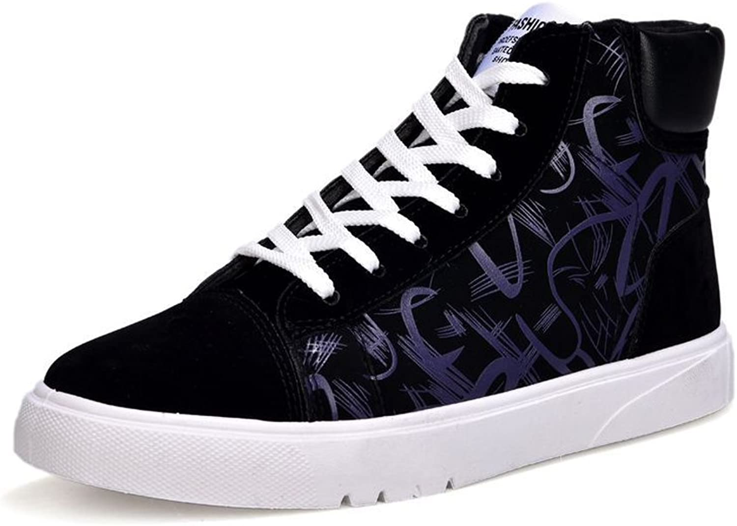 MUMUWU Men's Flat shoes PU Patent Leather Abstract Painting Upper Lace Up High Top Sneaker carrier