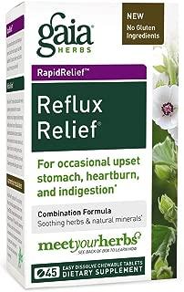 Gaia Herbs Reflux Relief Vegan Tablets, 45 Count - Helps Upset Stomach, Heartburn & Acid Indigestion