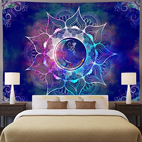 Ameyahud Mandala Tapestry Blue Starry Sky and Moon Tapestry...