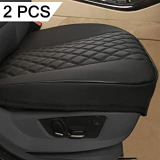"Black Panther 1 Pair PU Car Seat Covers, Front Seat Protectors Compatible with 90% Vehicles,Diamond Pattern Embroidery,Anti-Slip & Full Wrapping Edge (W 21.26''D 20.86""),Black"