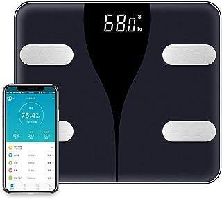 LXMR Báscula de Peso Bluetooth Multifuncional, báscula electrónica de Alta precisión, báscula Inteligente de Grasa Corporal Bluetooth, báscula de Gran tamaño-Black