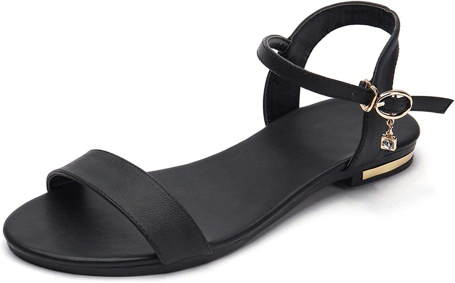 Lewis Pitman Plus Size 34-46 Leather Sandals Women shoes Flat Sandals Cow Leather Summer Rhinestone