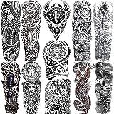 11 Sheets NEZAR Maori Temporary Tattoo Sleeve For Men Adults Tiki Turtle Manta Waterproof Fake Tattoo Sleeves For Women Black Dragon Totem Tribal Military Long Full Sleeve Tattoos Temporary Stickers