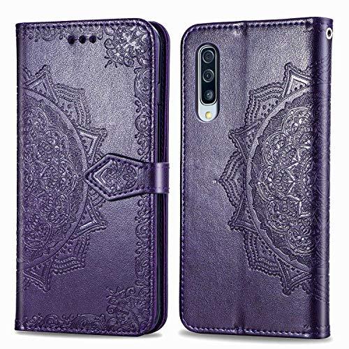 Bear Village Hülle für Galaxy A90 5G, PU Lederhülle Handyhülle für Samsung Galaxy A90 5G, Brieftasche Kratzfestes Magnet Handytasche mit Kartenfach, Violett