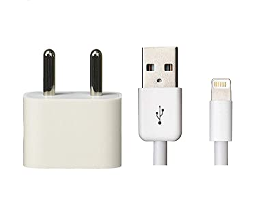 swapkart fast charging adapter + 1 meter usb cable compatible with iphone 5/5s/6/6s/7/8/8 plus/x/xs/xr/11/pro, i pad air/mini/nano, ipod touch devices- White